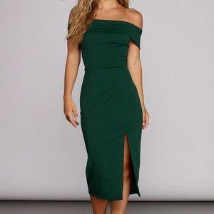 Green off-shoulder dress